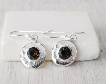 Smoky Quartz and Sterling Silver Earrings, Small Round Brown Dangle Earrings, Natural Smoky Quartz Gemstone Earring, Smoky Quartz Jewelry
