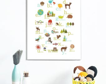 Woodland Animal Alphabet Canvas Wall Art, 11x14 or 18x24, ABC, Gender Neutral Nursery Decor, Kid's Room, Nature Nursery