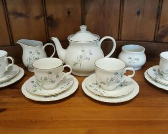 Beautiful delicate bluebell full teaset for 4 - Sadler English china