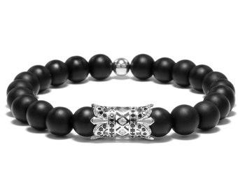 Onyx bracelet/ Men's bracelet/ Silver plated pave beads/ Elegant bracelet/ Bracelet for men/ Beaded bracelet/ royal symbol/ Stretch bracelet