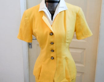 Tailored 2 piece vintage style 1940 1950's yellow