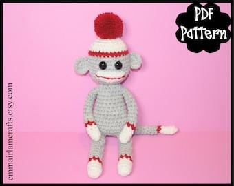 Mini Sock Monkey Crochet Pattern, Sock Monkey Amigurumi, Amigurumi Pattern, Monkey Plush, Sock Monkey Plushie, Monkey, Crochet Monkey Toy,