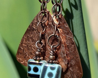 Hammered Copper Earrings with Czech Bead, Copper Earring, Chain Earrings, Dangle, Drop Earrings