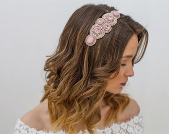 Bridal crystal couture headband, Wedding blush jeweled hair piece, Mauve pink bridal hairpiece, Pastel pink wedding headpiece, Hairband