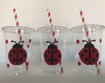 Lady Bug Party Cups, Lady Bug Birthday Party Cups, Bug Party Cups, Insect Party Cups, Lady Bug Baby Shower