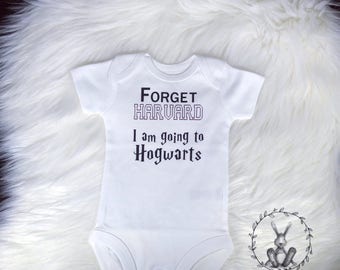 Forget Harvard I'm Going to Hogwarts Onesie, Funny Onesie, Baby Shower, Baby Gift, Infant Clothing, child clothing, baby girl, baby boy
