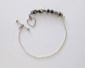 Black Shimmer Bracelet, Silver Color Chain Bracelet, Geometric Beads Bracelet, Heart Bracelet, Silver Black Jewelry