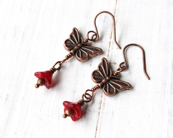Butterfly earrings, Red butterfly earrings, antique copper, Boho style, dangly earrings, nature inspired, Bohemian style earrings