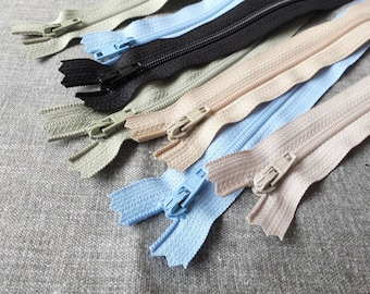 "SALE Sewing Support - Japanese YKK Nylon Zippers, Pale Lime, Beige, Blue, Black and Caramel Brown Pack Set Z02(7PCS, 3.5"" 8"" 10"")"