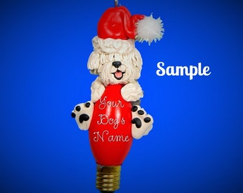 Old English Sheepdog Santa dog Christmas Light Bulb Ornament Sally's Bits of Clay Personalized Free with dog's name