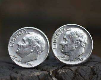 Cufflinks.....Roosevelt Silver dime cufflinks crafted from authentic .90 silver 1963 Roosevelt dimes for the Patriot in your life