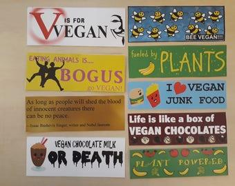 9 Large Vinyl Vegan Stickers - Bumper Pack!