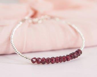 Garnet Bracelet, Gemstone Bracelet, Birthstone Bracelet, January Birthstone, Dainty Bracelet