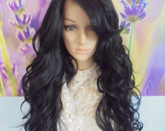 Black human hair blend lace front wig 28''