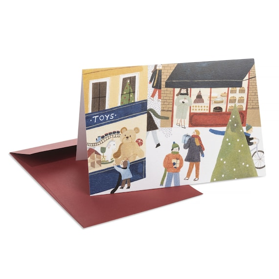 CHRISTMAS WINDOWS card. Cute. Kids illustration. Toy shop window. Naive. Festive mood. Holiday wishes note card