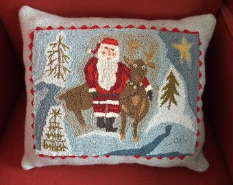 Antique Santa and Reindeer punch needle pillow