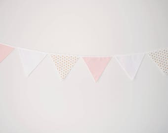 Fabric Baby Girl Bunting, Pink, Gold Spots Polka Dots, White, Baby Girl Nursery Bunting, Wall Decor Baby Shower Birthday Party Nursery Decor