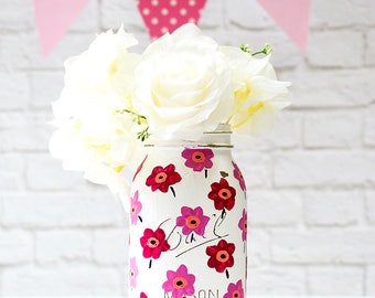 Painted Mason Jar - Pink Flower Painted Mason Jar - Marimekko Flower Mason Jars