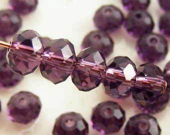 6x4mm Crystal Rondelles Faceted Beads Transparent Amethyst Purple (Qty 15) MW-6x4R-TAP