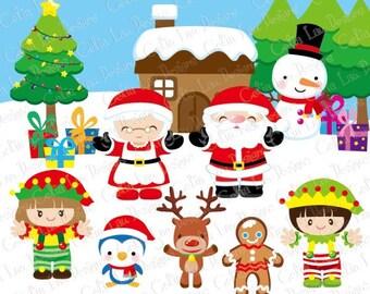 CHRISTMAS Clipart, Santa Clipart, christmas Elf, christmas Penguin Clipart, Gingerbread, Snowman, Reindeer Clipart, Christmas tree (CG093)