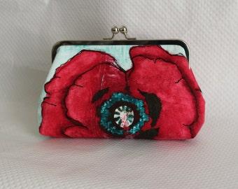Floral Clutch - Bridesmaids Clutch - Wedding Clutch Purse - Bridesmaid Gifts - Red Floral Clutch - Poppy Clutch