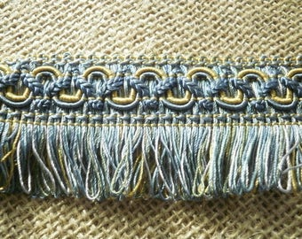Lace fringe viscose, embroiled with blue and yellow, width 4.4 cm