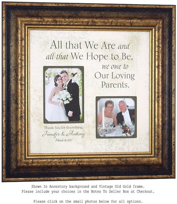 Parents Thank You wedding day gift, Parents of the Groom Gift ...