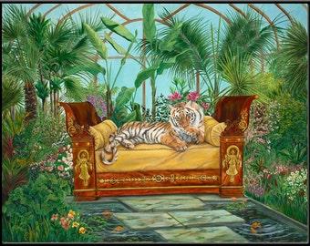 """Jasmine's Garden 16"""" x 12.5"""" Tiger in a Tropical Garden Print"""