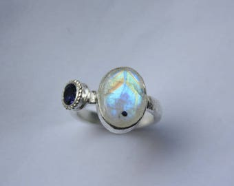 Rainbow Moonstone and Iolite Sterling Silver Ring