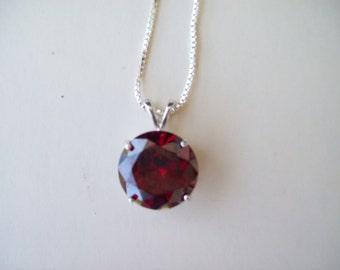 XL 16mm Round Garnet Red Gemstone Pendant in Pure Sterling