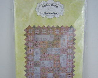 "Rabbits Haven Quilt and Stitchery Pattern - #47 ""Tea in the Garden"" Quilt Pattern"