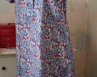 Liberty print dress, floral print dress, short sleeves, cotton shirt dress, cotton dress, liberty cotton dress blue floral cotton dress.