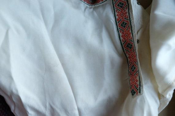 ballet stitch dance cossack Rare unisex antique russian sleeve large blouse long style silk neck blouse vintage D1 cross size OOZr4cW