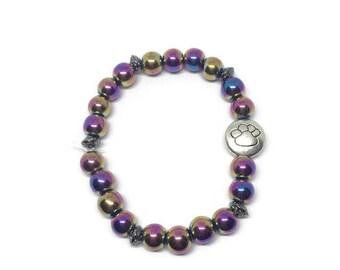 Rainbow Hematite Bracelet, Paw Print Bracelet, Rainbow Bridge Bracelet, Pet Loss Bracelet, Pet Loss Jewelry, Titanium Hematite Bracelet