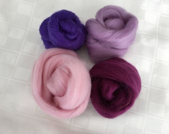 Corriedale Mix- 50+g, Purples/Pinks