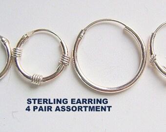 Earrings, EARWIRES, STERLING, LOOP, Hoop, Round,  8mm to16mm, Hinged,  4 pair, Findings,