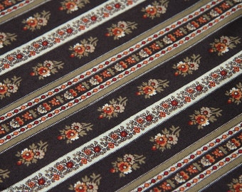 """Cotton Fabric - Penny Rose Reproduction 100% cotton - brown floral stripe - quilting quality - by the yard - 45"""" WIDE - EP Cotton #48"""