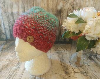 2 tone wool beanie, teen, eco friendly yarn, hand spun, hand knit