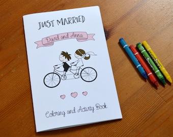 Personalized Kids wedding coloring book / kids wedding favor / kids activity book / kids wedding table / kids wedding activities - Set of 6