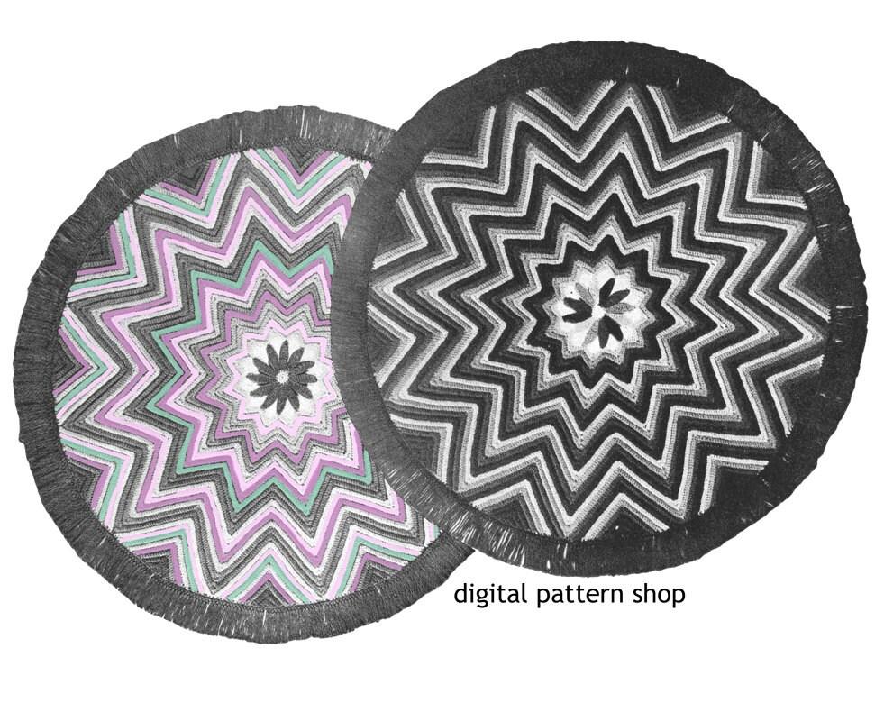 Crochet Rug Pattern 1940s Vintage Round Star Rug Zig Zag Rug