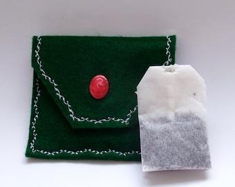 Tea Bag Pouch, Green Tea Bag Organizer, Tea Bag Carrier, Tea Bag Holder, Tea Bag Travel Pouch, Mini Storage Envelope, Teach Gift Idea