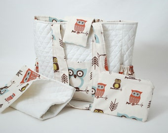 Free Shipping Owl Print Diaper Bag with Changing Mat and Small Zipper Pouch