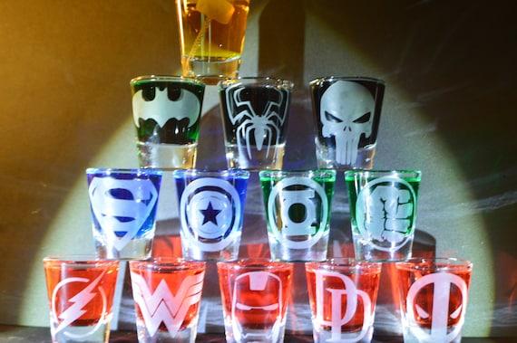 Super heroes etched shot glass set of 13 fan art