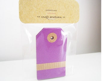 10 Parcel Tags Purple - Medium 10 pcs - with Reinforcement Ring