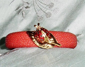 "GENUINE Exotic Stingray Red Leather, Swarovski Crystal Lady Bug on Leaf, Bendable 7 1/2"" Cuff Bracelet"