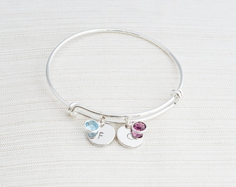 Silver Initial & Birthstone Bangle, Personalised Bracelet, Birthstone bracelet