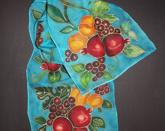 Hand painted silk scarf,Fall gift,Thanksgiving gift,Fruits,Armenian pomegranate chiffon scarf,Azure blue red scarf wrap,Etsy ASAP gift