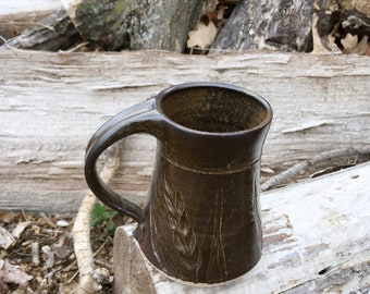 Pottery Mug Wheat Brown 12 ounce Handmade by Daisy Friesen