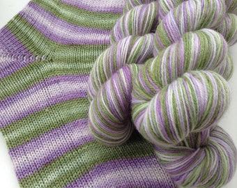 Hand dyed self striping merino sock yarn - Faerie Dance