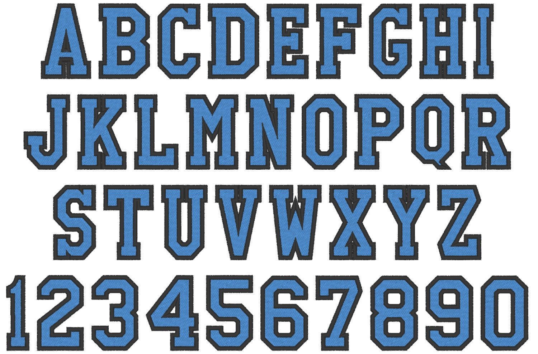 Hight school varsity collegiate block mini Font machine